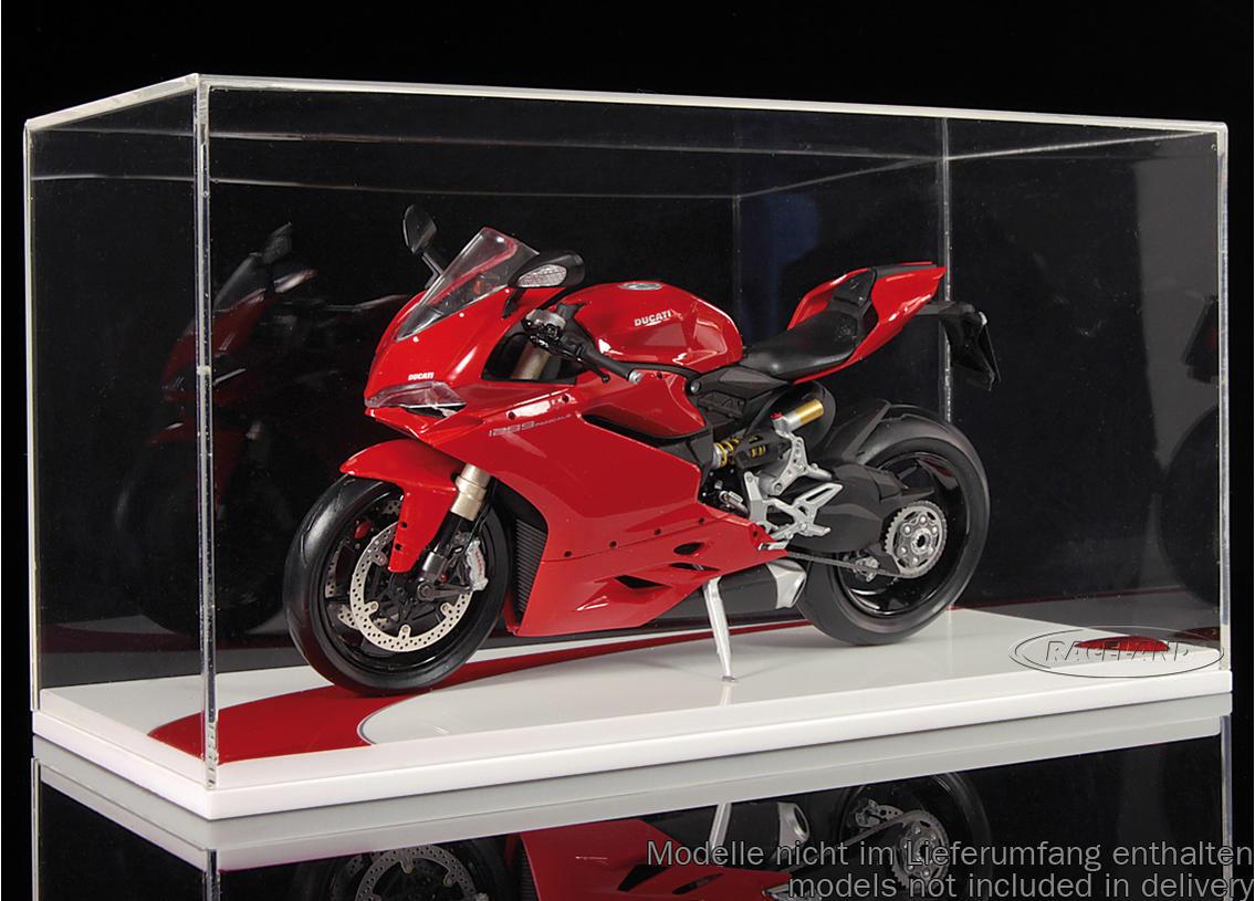 vitrine f r motorrad modelle sockel wei rot mit ducati logo einzelvitrinen vitrinen. Black Bedroom Furniture Sets. Home Design Ideas